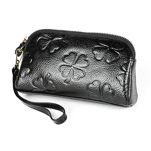 2026 Antimagnetic RFID Multifunctional Litchi Texture Women Large Capacity Hand Wallet Shell bag with Card Slots (Black)