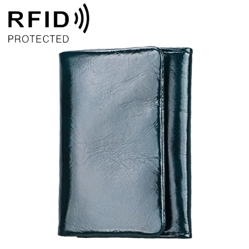 2031 Antimagnetic RFID Multifunctional Women Lock Buckle Large Capacity Hand Wallet with Card Slots (Black)