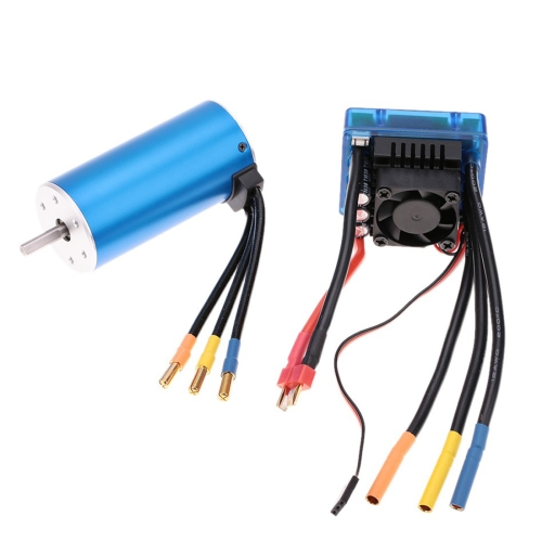Buy 3674 2250KV 4P Sensorless Brushless Motor with 120A Brushless Electronic Speed Controller for 1/8 RC Car Truck for $63.27 in SUNSKY store