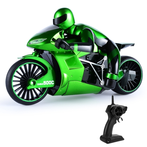 CSRC-22 2.4GHz Rechargeable Telecontrol Motorcycle Children Toy Simulation Model High Speed Drift Car with Remote Controller (Green)