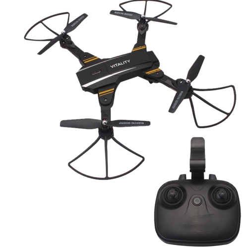 Buy TK116W Foldable Drone 2.4GHz 4-CH 6-Axis Gyro WiFi RC Quadcopter with 0.3MP Wide Angle Camera & LED Light & Remote Control, Gravity Sensor Function, Headless Mode, Real-time FPV, One Key Return, Altitude Hold, Black for $44.25 in SUNSKY store