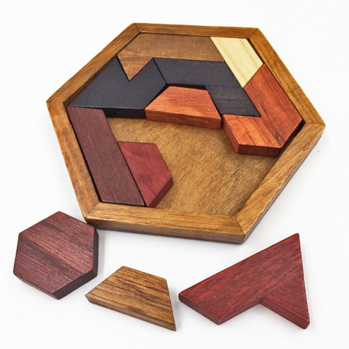 Children Wooden Toys Hexagon Puzzle Geometric Abnormity Shape Puzzle Tangram