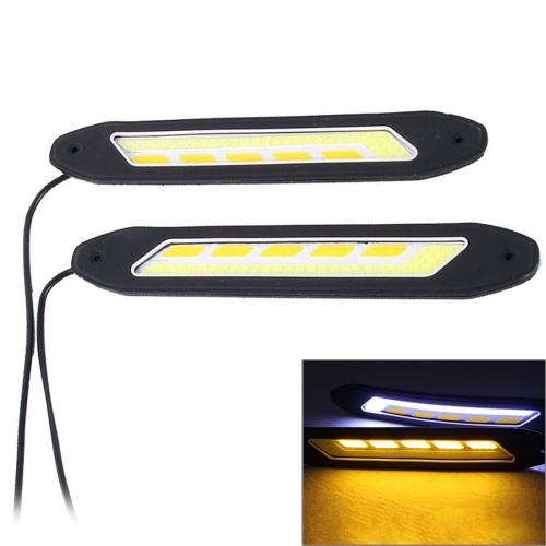 Buy 2 PCS DC 12V 10W 6000K Car DRL Daytime Running Lights Lamp (White Light + Yellow Light) for $4.21 in SUNSKY store