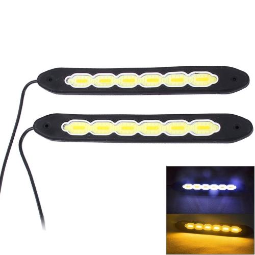 Buy 2 PCS DC 12V 10W 6000K Car DRL Daytime Running Lights Lamp (White Light + Yellow Light) for $4.20 in SUNSKY store