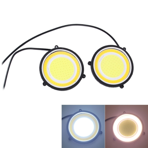Buy 2 PCS DC 12V 10W 6000K Circular Car DRL Daytime Running Lights Lamp (White Light + Yellow Light) for $4.67 in SUNSKY store