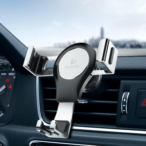 FLOVEME Auto Car Gravity Car Mount Phone Holder (Silver+Black)