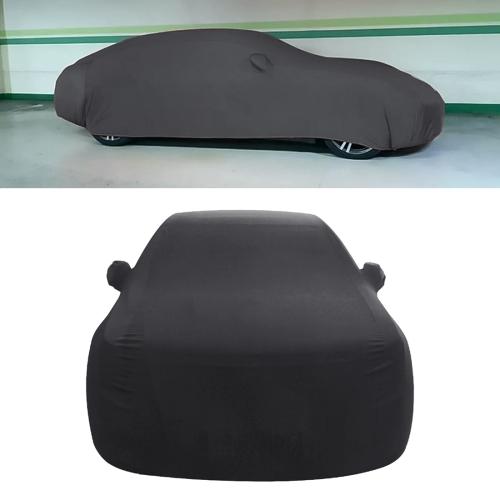 Anti-Dust Anti-UV Heat-insulating Elastic Force Cotton Car Cover for Sedan Car, Size: M, 4.65m~4.89m (Black)