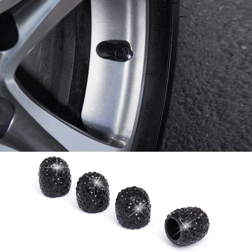 Car Crystal Tire Valve Cap Gas Cap Mouthpiece Cover (Black)