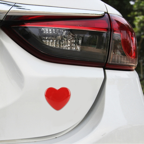 Heart Shape Car Metal Body Decorative Sticker (Red)