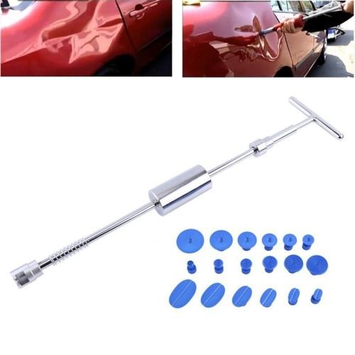 19 PCS Auto Repair Body Tool Kit Paintless Dent Repair Hail Removal Silver T Bar Slide Hammer Dent Repair Tool Kit