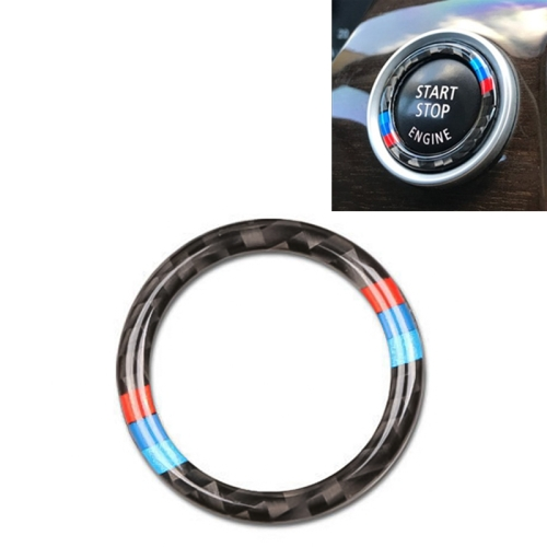Car Carbon Fiber Soft Panel Engine Start Key Push Button Ring Trim Decorative Sticker for BMW E90 / E92 / E93 2005-2012