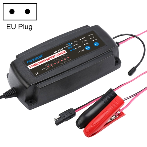 12V 2A / 4A / 8A 7 Stage Charging Battery Charger for Car Motorcycle, EU Plug