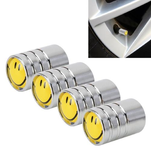4 PCS Smile Pattern Gas Cap Mouthpiece Cover Gas Cap Tire Cap Car Motor Bicycle Tire Valve Caps