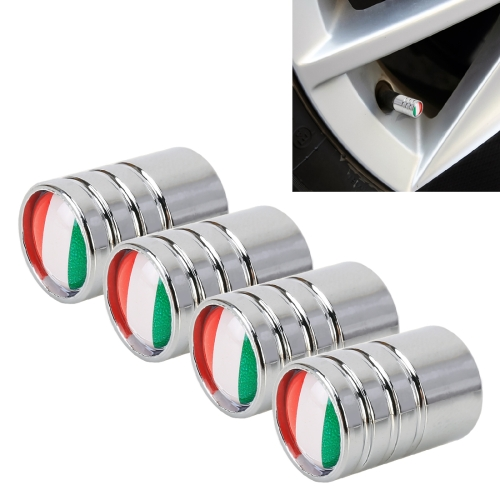 4 PCS Italian Flag Pattern Gas Cap Mouthpiece Cover Gas Cap Tire Cap Car Motor Bicycle Tire Valve Caps