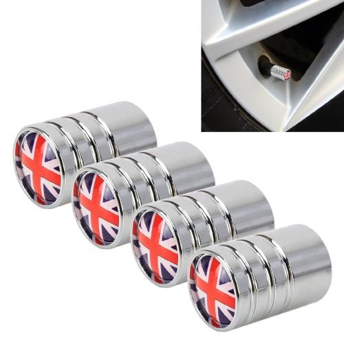 4 PCS UK Flag Pattern Gas Cap Mouthpiece Cover Gas Cap Tire Cap Car Motor Bicycle Tire Valve Caps