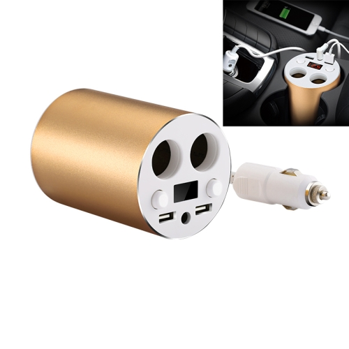 Buy JOYROOM C-M208 5V/3.1A Smart 4-Core Chip Dual USB Port Quick Charge Cup Shaped Car Charger + 120W Independent Double-hole Car Cigarette Lighter with LED Screen Charging Voltage Display for Cars & Pickups & SUV & Smartphones & Tablets & Power Bank & PSP & PDA & GPS & MP3 & MP4 and other USB-charged Devices, Gold for $8.32 in SUNSKY store