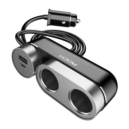 Rock 2 In 1 Multi-functional Cigarette Socket Lighter Splitter Phone Car Charger Car Cigarette Lighter Socket, Version PD (Black)