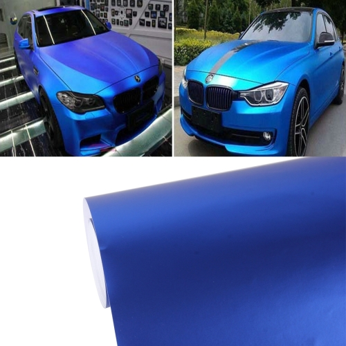7.5m * 0.5m Ice Blue Metallic Matte Icy Ice Car Decal Wrap Auto Wrapping Vehicle Sticker Motorcycle Sheet Tint Vinyl Air Bubble (Dark Blue)