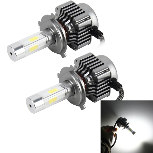 Buy 2 PCS WEIYAO V8 H4 36W 4800LM 6000K White Light Car 4 COB LEDs Headlight Kit, DC 12-24V for $24.54 in SUNSKY store