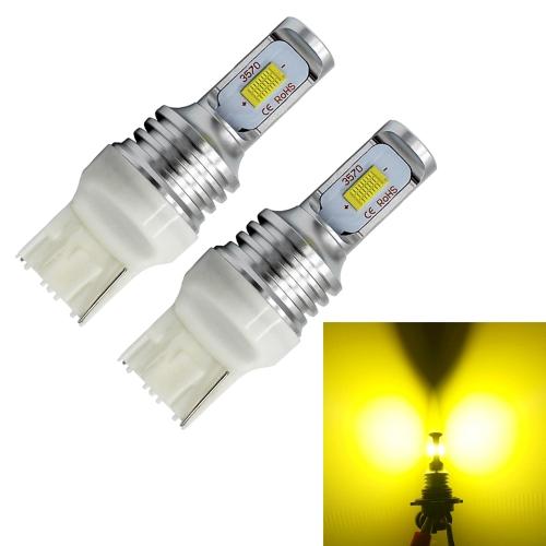 Buy 2 PCS T20/7440 72W 700LM 3000K Bright Yellow Light Car Turn Backup LED Bulbs Reversing Lights, DC 12-24V for $12.19 in SUNSKY store