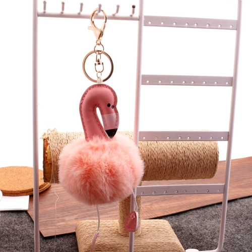 Buy Super Metal Flamingo Key Chain Imitation Rabbit Hair Bulb Fur Plush Car Ornaments Pendant Key Ring, Random Color Delivery for $1.91 in SUNSKY store