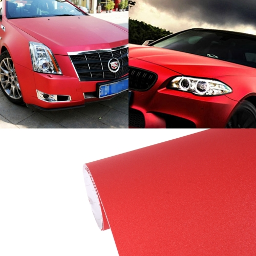 7.5m * 0.5m Grind Arenaceous Auto Car Sticker Pearl Frosted Flashing Body Changing Color Film for Car Modification and Decoration, Red