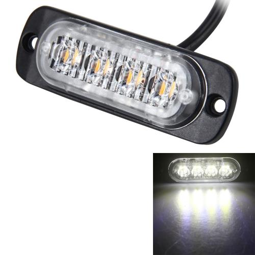 Qii lu 12-24V Cami/ón Coche 12 LED Flash Estrobosc/ópico Luz de advertencia de emergencia Luces intermitentes Rojo azul