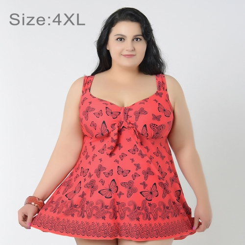 Buy Skirt Plus Size Gather Chest Swimwear Push Up Swimwear Dress Swimsuit Two-Pieces Separates Butterfly Pattern Over-sized Swimsuits for Fat Women, Size: 4XL (Dark Pink) for $16.97 in SUNSKY store