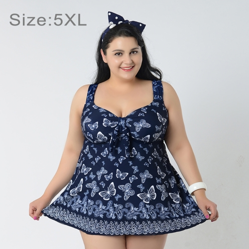 Buy Skirt Plus Size Gather Chest Swimwear Push Up Swimwear Dress Swimsuit Two-Pieces Separates Butterfly Pattern Over-sized Swimsuits for Fat Women, Size: 5XL (Dark Blue) for $16.97 in SUNSKY store