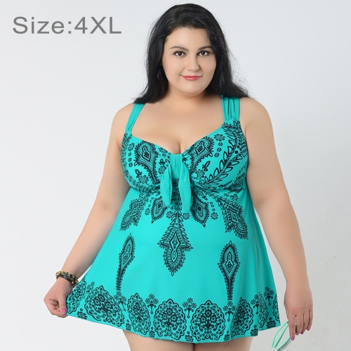 Buy Skirt Plus Size Gather Chest Swimwear Dress Swimsuit Two-Pieces Separates Floral Print Over-sized Swimsuits for Fat Women, Size: 4XL (Tiffany Blue) for $17.59 in SUNSKY store