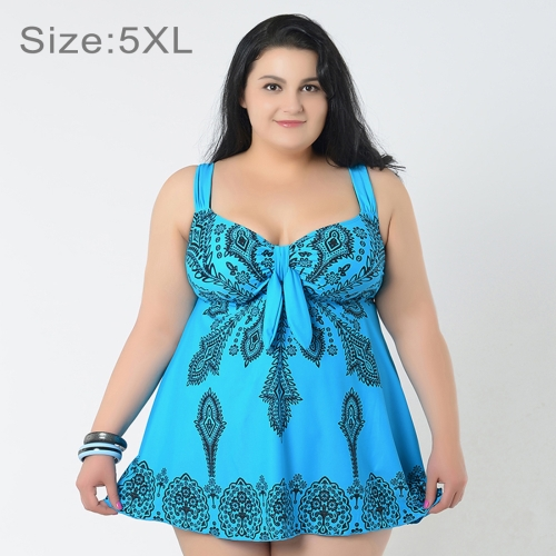Buy Skirt Plus Size Gather Chest Swimwear Dress Swimsuit Two-Pieces Separates Floral Print Over-sized Swimsuits for Fat Women, Size: 5XL, Blue for $17.59 in SUNSKY store