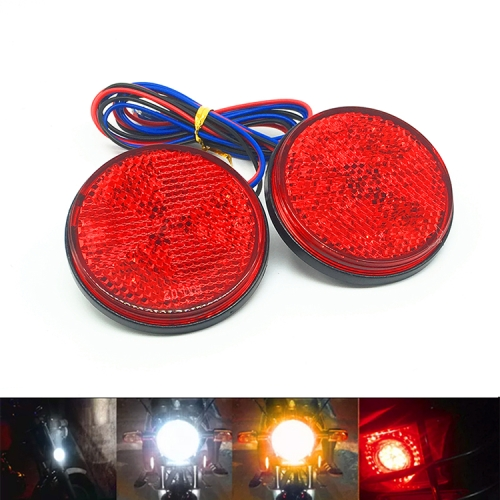 2 PCS Motorcycle Trailer Truck DC 12-15V Wired 24-LED Indicator Lamp Reflector Round Marker Tail Light, Light Color:Red (Steady + Flash Lighting)(Red)