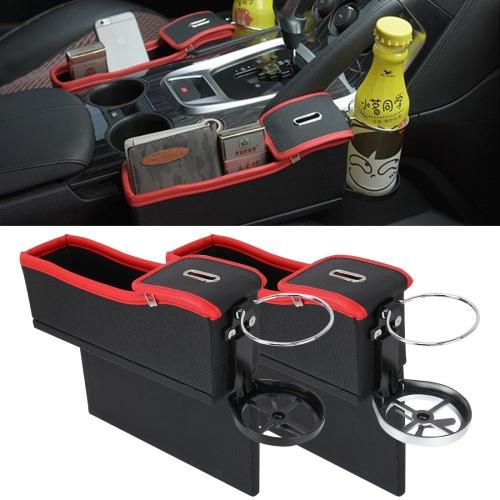 Car Seat Black Slot Storage Organizer Box Cup Drink Holder Gap Pocket Stowing