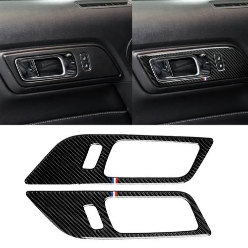 2 PCS Car USA Color Carbon Fiber Door Inner Handles Decorative Sticker for Ford Mustang 2015-2017