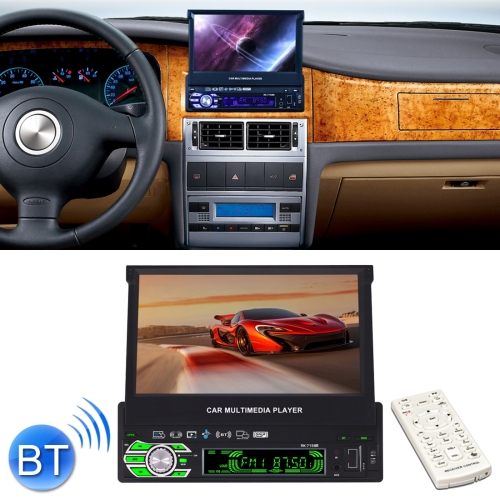 RK-7158B Single Din Auto Retractable Screen 7 inch 1080P HD Car Stereo Radio MP5 FM Player In-Dash Head Unit, with Bluetooth / AUX / Rear View