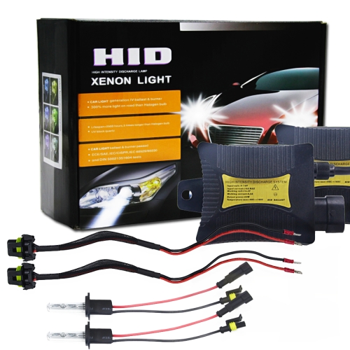 55W H7 6000K HID Xenon Light Conversion Kit with Slim Ballast High Intensity Discharge Lamp, White