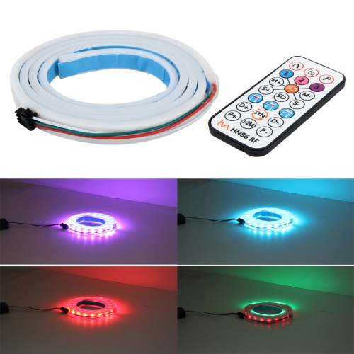 1.2m Car Auto Waterproof Universal Rear Colorful Flowing Light Tail Box Lights with RF Wireless Remote Control and Tail Light Controller, Red Light Brake Light Yellow Light Turn Signal Light LED Lamp Strip Tail Decoration