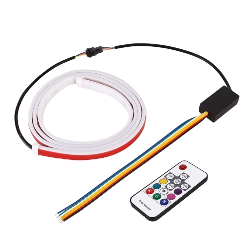 Buy 1.5m Car Auto Waterproof Universal Rear Colorful Flowing Light Tail Box Lights with RF Wireless Remote Control and Tail Light Controller, Red Light Brake Light Yellow Light Turn Signal Light LED Lamp Strip Tail Decoration for $15.24 in SUNSKY store