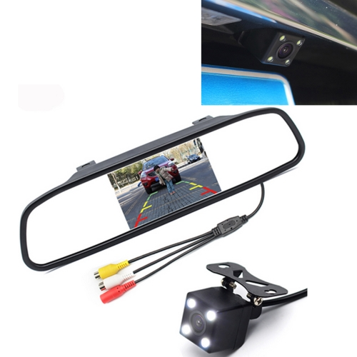 Buy PZ603 Car Video Monitor HD Auto Parking LED Night Vision CCD Reverse Rear View Camera with 4.3 inch Car Rear View Mirror for $23.55 in SUNSKY store