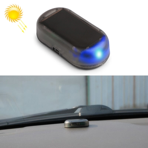 LQ-S10 Car Solar Power Simulated Dummy Alarm Warning Anti-Theft LED Flashing Security Light Fake Lamp(Blue Light)