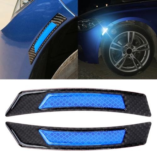 Carbon Fiber Blue Power Reflective Wheel Eyebrow Edge Protection Stickers