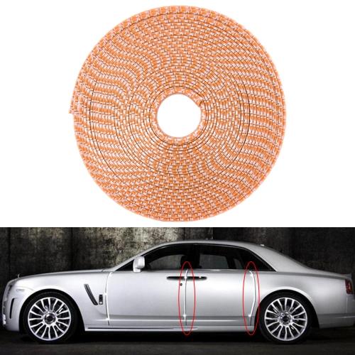 8m Universal DIY Carbon Fiber Rubber Auto Car Door Edge Seal Scratch Protector Decorative Strip (Orange)