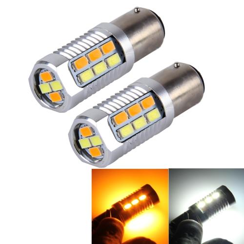 Buy 2 PCS 1157 6W 22 SMD-5730-LEDs White + Yellow Light Brake Light Turn Light, DC 12V for $8.04 in SUNSKY store