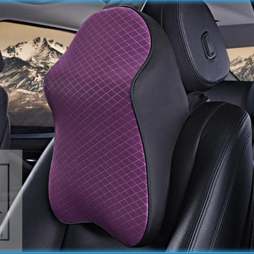 Dual-purpose Rebound Memory Foam Car Headrest Pillow Breathable Waist Back Cushion(Purple)