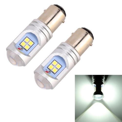 2 PCS 1157 / BAY15D 6W(H) 1.5W(L) 600LM 6000K Car Auto Brake Lights 12LEDs SMD-3030 Lamps, DC 12V-24V(White Light)