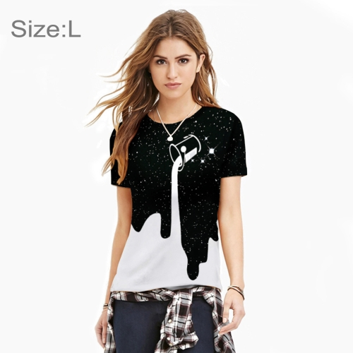 Buy Summer 3D Black and White Color Block Printing Pattern Women T-shirt O-neck Short Sleeve Tees Shirt Breathable Casual Tops, Size: L for $5.23 in SUNSKY store