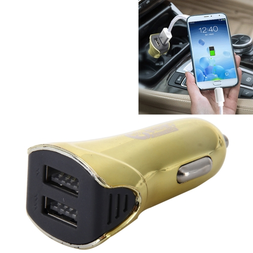 Car Auto 5V Dual USB 2.1A/1A Cigarette Lighter Adapter for Most Phones, Yellow