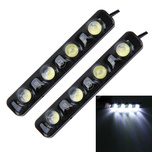 Buy 2 PCS 4W 120 LM 6000K DRL Daytime Running Light with 4 SMD-5050 Lamps, DC 12V (White Light) for $3.73 in SUNSKY store