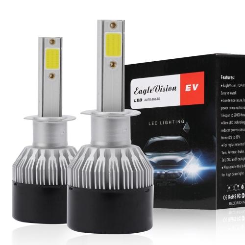EV9 2 PCS H1 18W 2000LM 6000K Xenon White IP65 DOB LED Headlight Bulbs High Beam Conversion Kit DC 9-30V