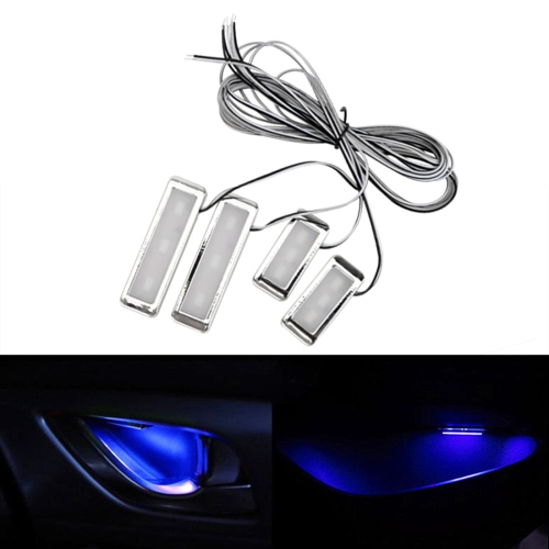 4 PCS Universal Car LED Inner Handle Light Atmosphere Lights Decorative Lamp DC12V / 0.5W Cable Length: 75cm (Blue Light)